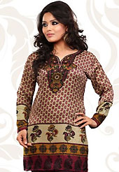 This light fawn french jacquard readymade tunic is nicely designed with floral and abstract print work. This is a perfect casual wear readymade kurti. Bottom shown in the image is just for photography purpose. Minimum quantity order 12pcs in each style. Slight Color variations are possible due to differing screen and photograph resolutions.