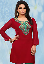 This simple and pretty kurti has beautiful embroidery patch work is done with zari and stone work. This drape material is georgette chiffon. The entire ensemble makes an excellent wear. This is a perfect casual wear readymade kurti. Bottom shown in the image is just for photography purpose. Minimum quantity order 12pcs in each style. Slight Color variations are possible due to differing screen and photograph resolutions.