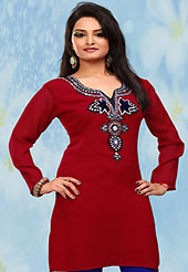 This simple and pretty kurti has beautiful embroidery patch work is done with stone work. This drape material is georgette chiffon. The entire ensemble makes an excellent wear. This is a perfect casual wear readymade kurti. Bottom shown in the image is just for photography purpose. Minimum quantity order 12pcs in each style. Slight Color variations are possible due to differing screen and photograph resolutions.