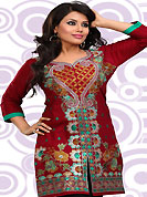 This simple and pretty kurti has beautiful embroidery patch work is done with resham and zari work. This drape material is cambric cotton. The entire ensemble makes an excellent wear. This is a perfect casual wear readymade kurti. Bottom shown in the image is just for photography purpose. Minimum quantity order 12pcs in each style. Slight Color variations are possible due to differing screen and photograph resolutions.