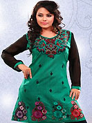 This simple and pretty kurti has beautiful embroidery patch work is done with resham work. This drape material is kora silk. The entire ensemble makes an excellent wear. This is a perfect casual wear readymade kurti. Bottom shown in the image is just for photography purpose. Minimum quantity order 12pcs in each style. Slight Color variations are possible due to differing screen and photograph resolutions.