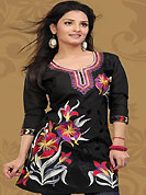 This simple and pretty kurti has beautiful embroidery patch work is done with resham work. This drape material is chanderi silk. The entire ensemble makes an excellent wear. This is a perfect casual wear readymade kurti. Bottom shown in the image is just for photography purpose. Minimum quantity order 12pcs in each style. Slight Color variations are possible due to differing screen and photograph resolutions.
