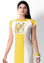 Outfit is a novel ways of getting yourself noticed. This beautiful designer white and yellow cotton readymade tunic have amazing embroidery patch work is done with resham work. The entire ensemble makes an excellent wear. This is a perfect patry wear readymade kurti. Accessories shown in the image is just for photography purpose. Bottom and accessories shown in the image is just for photography purpose. Slight Color variations are possible due to differing screen and photograph resolutions.