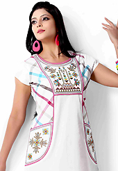 An endearing splash oh colors look gorgeous tridimensional charm. This beautiful designer white cotton readymade tunic have amazing embroidery patch work is done with resham work. The entire ensemble makes an excellent wear. This is a perfect patry wear readymade kurti. Accessories shown in the image is just for photography purpose. Bottom and accessories shown in the image is just for photography purpose. Slight Color variations are possible due to differing screen and photograph resolutions.