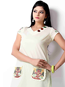Style and trend will be at the peak of your beauty when you adorn this kurti. This beautiful designer off white cotton readymade tunic have amazing embroidery patch work is done with resham work. The entire ensemble makes an excellent wear. This is a perfect patry wear readymade kurti. Accessories shown in the image is just for photography purpose. Bottom and accessories shown in the image is just for photography purpose. Slight Color variations are possible due to differing screen and photograph resolutions.