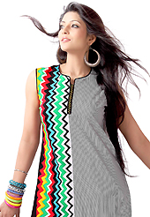 The traditional patterns used on this kurti maintain the ethnic look. This beautiful designer off white and black cotton readymade tunic have amazing zigzag, stripe print and embroidery patch work is done with resham work. The entire ensemble makes an excellent wear. This is a perfect patry wear readymade kurti. Accessories shown in the image is just for photography purpose. Bottom and accessories shown in the image is just for photography purpose. Slight Color variations are possible due to differing screen and photograph resolutions.