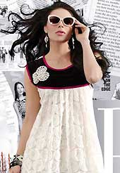 Outfit is a novel ways of getting yourself noticed. This beautiful designer white and black georgette and velvet readymade tunic have amazing embroidery patch work is done with resham work. The entire ensemble makes an excellent wear. This is a perfect patry wear readymade kurti. Accessories shown in the image is just for photography purpose. Slight Color variations are possible due to differing screen and photograph resolutions.