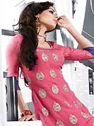 Be the cynosure of all eyes with this wonderful wear in flattering colors and combinations. This beautiful designer pink jacquard crepe and georgette readymade tunic have amazing embroidery patch work is done with resham and zari work. The entire ensemble makes an excellent wear. This is a perfect patry wear readymade kurti. Accessories shown in the image is just for photography purpose. Slight Color variations are possible due to differing screen and photograph resolutions.