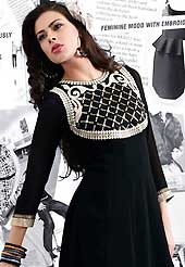 Essential collection of embroidered kurti with marvelous style. This beautiful designer black georgette readymade tunic have amazing embroidery patch work is done with resham and stone work. The entire ensemble makes an excellent wear. This is a perfect patry wear readymade kurti. Accessories shown in the image is just for photography purpose. Slight Color variations are possible due to differing screen and photograph resolutions.