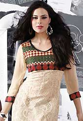 Embroidery kurti are the best choice for a girl to enhance her feminine look. This beautiful designer cream net and georgette readymade tunic have amazing embroidery patch work is done with resham work. The entire ensemble makes an excellent wear. This is a perfect patry wear readymade kurti. Bottom and accessories shown in the image is just for photography purpose. Slight Color variations are possible due to differing screen and photograph resolutions.
