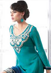 Welcome to the new era of Indian fashion wear. This beautiful designer light blue and dark blue viscose georgette readymade tunic have amazing embroidery patch work is done with resham work. The entire ensemble makes an excellent wear. This is a perfect patry wear readymade kurti. Accessories shown in the image is just for photography purpose. Slight Color variations are possible due to differing screen and photograph resolutions.