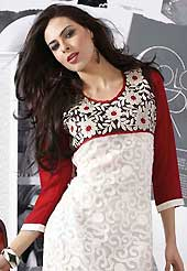 Elegance and innovation of designs crafted for you. This beautiful designer white and red net and georgette readymade tunic have amazing embroidery patch work is done with resham work. The entire ensemble makes an excellent wear. This is a perfect patry wear readymade kurti. Bottom and accessories shown in the image is just for photography purpose. Slight Color variations are possible due to differing screen and photograph resolutions.