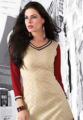 An endearing splash oh colors look gorgeous tridimensional charm. This beautiful designer dark cream and dark red poly cotton and georgette readymade tunic have amazing embroidery patch work is done with resham work. The entire ensemble makes an excellent wear. This is a perfect patry wear readymade kurti. Bottom and accessories shown in the image is just for photography purpose. Slight Color variations are possible due to differing screen and photograph resolutions.