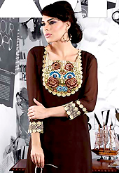 The evolution of style species collection spells pure femininity. This beautiful designer deep brown viscose georgette readymade tunic have amazing embroidery patch work is done with resham and lace work. The entire ensemble makes an excellent wear. This is a perfect patry wear readymade kurti. Accessories shown in the image is just for photography purpose. Slight Color variations are possible due to differing screen and photograph resolutions.