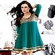 Turquoise Green Georgette Readymade Tunic