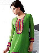 The glamorous silhouette to meet your most dire fashion needs. This beautiful designer green georgette readymade tunic have amazing embroidery patch work is done with resham, zari and lace work. The entire ensemble makes an excellent wear. This is a perfect patry wear readymade kurti. Bottom and accessories shown in the image is just for photography purpose. Slight Color variations are possible due to differing screen and photograph resolutions.
